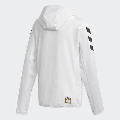 Boys Training White Salah Football-Inspired Full-Zip Hoodie