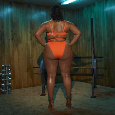 Women's Originals Orange Spaghetti Strap One Piece Swimsuit (Plus Size)