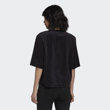 Frauen Originals adicolor Velour Boxy T-Shirt Schwarz