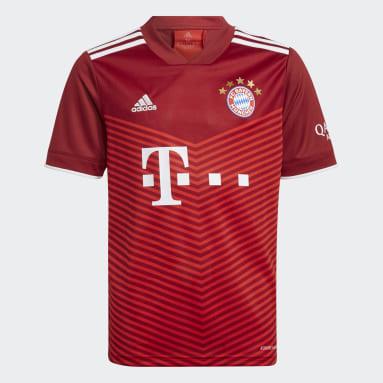 Boys Football Red FC Bayern 21/22 Home Jersey