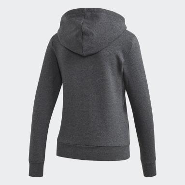 Kvinder Livsstil Grå Essentials Linear Fleece hættetrøje