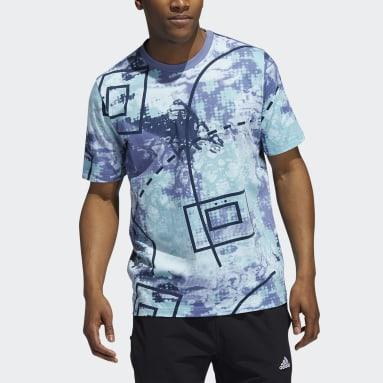 Men Basketball Blue Throwback Allover Print T-Shirt
