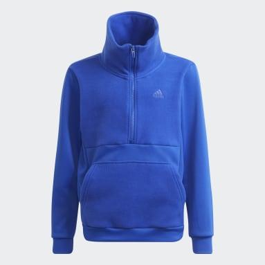 Kids Gym & Training Blue Designed to Move Fleece Half Zip Top (Gender Neutral)