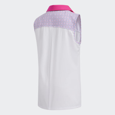 Youth Golf Pink Printed Colorblock Polo Shirt