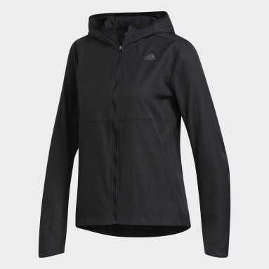 Campera Rompevientos con Capucha Own the Run Negro Mujer Running