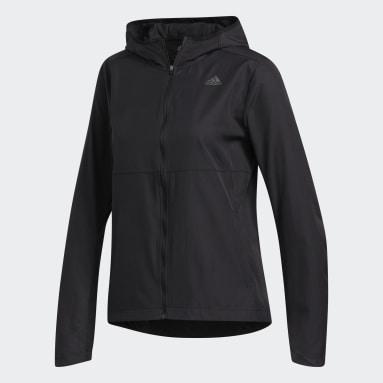 Women Running Black Own the Run Hooded Wind Jacket