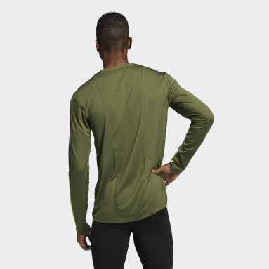 Men Gym & Training Green Techfit 3-Stripes Fitted Long Sleeve Top