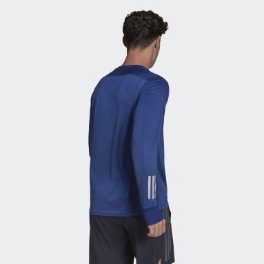 T-shirt Own the Run Long Sleeve Bleu Hommes Running