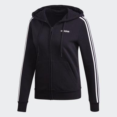 Women's Essentials Black Essentials 3-Stripes Fleece Hoodie