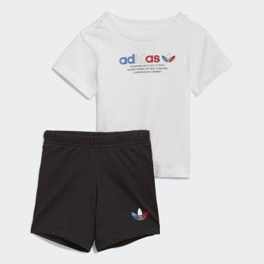 Infants Originals White Adicolor Shorts and Tee Set