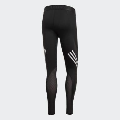 Licras Largas Alphaskin Sport+ 3 Rayas - Pretina Baja Negro Hombre Running