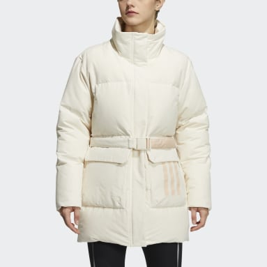 Women City Outdoor White Belted Down Jacket