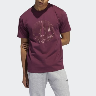 Camiseta Deco Trefoil Burgundy Hombre Originals