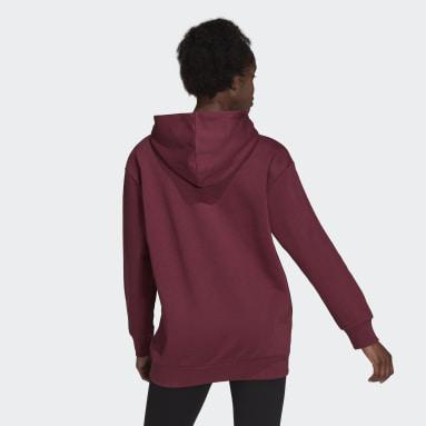 Women Sportswear Burgundy Essentials Oversize Fleece Hoodie