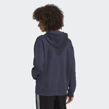 Sudadera con capucha Adicolor Trefoil Azul Mujer Originals