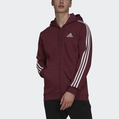 Muži Sportswear Purpurová Mikina Essentials Fleece 3-Stripes Full-Zip
