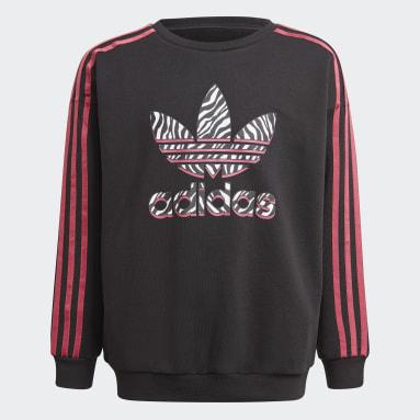 Girls Originals Black Graphic Print Crew Sweatshirt