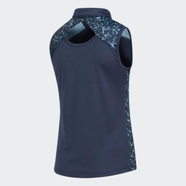 Girls Golf Blue Girls' Printed Racerback Sleeveless Polo Shirt