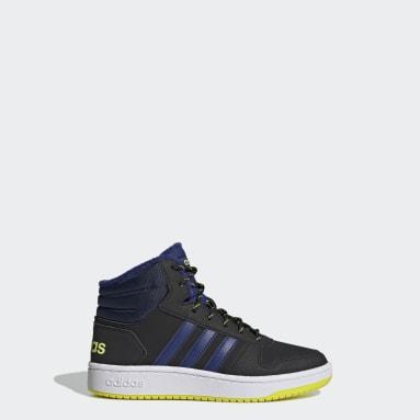 Kids Essentials Black Hoops 2.0 Mid Shoes