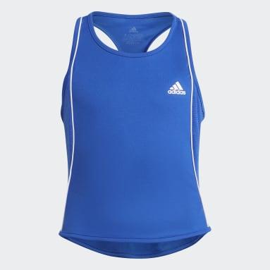 Mädchen Tennis Tennis Pop-Up Tanktop Blau