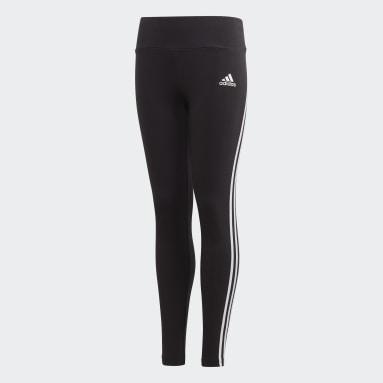 Girls Gym & Training Black 3-Stripes Cotton Leggings