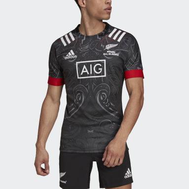 Männer Rugby Maori Replica Trikot Schwarz