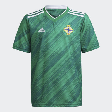 Youth 8-16 Years Football Green Northern Ireland Home Jersey