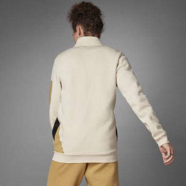 Männer Sportswear Logo Fleecejacke Weiß