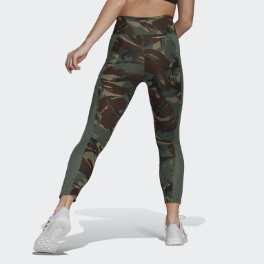 Dam Gym & Träning Grön AEROREADY Designed 2 Move Camouflage High-Rise 7/8 Tights