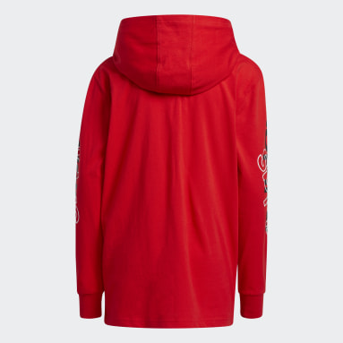 Youth Training Red Long Sleeve Hooded Linear Tee