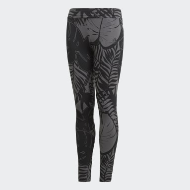Girls Training Grey Future Icons Graphic Tights