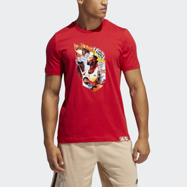Men Basketball Red Dame Abstraction Tee