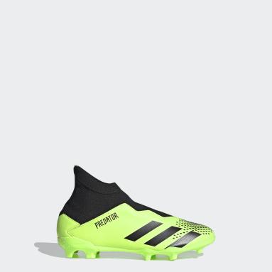 Kids Football Green Predator Mutator 20.3 Laceless Firm Ground Boots