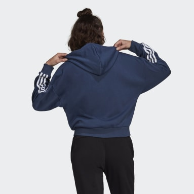 Women Sport Inspired Blue adidas Essentials Cut 3-Stripes Full-Zip Hoodie