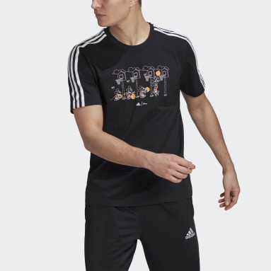 Camiseta Estampada adidas x Disney Mickey in Motion 3-Stripes Basketball Preto Homem Estilo Esportivo