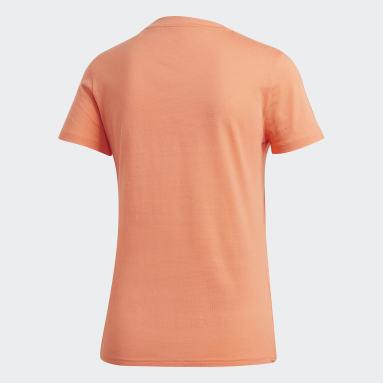 Women Gym & Training Orange Essentials 3-Stripes Tee