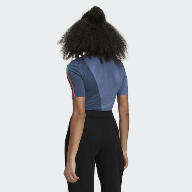 Women Originals Blue Adicolor Sliced Trefoil Bodysuit