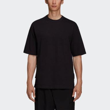 Men Y-3 Black Y-3 CH3 Raw Jersey Graphic Short Sleeve Logo T-Shirt