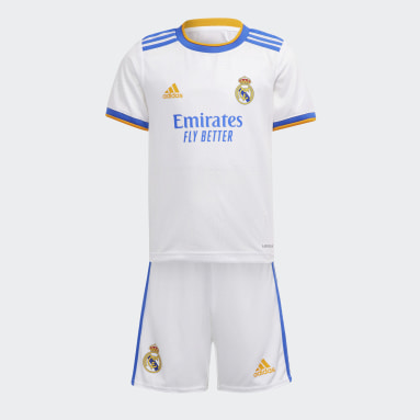 Miniconjunto Uniforme Local Real Madrid 21/22 Blanco Niño Fútbol