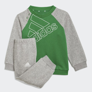 Kids Sportswear Green adidas Essentials Logo Sweatshirt and Pants (Gender Neutral)