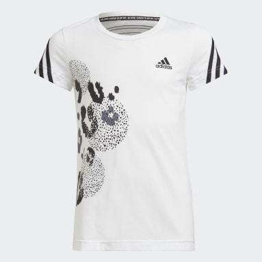 Camiseta 3 bandas Graphic Blanco Niña Gimnasio Y Entrenamiento