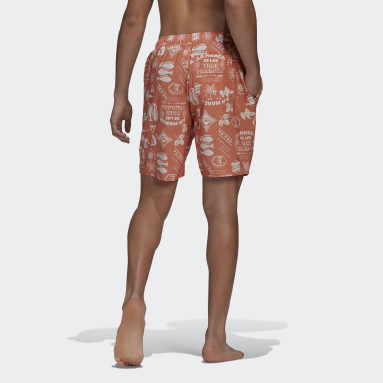 Men Swimming Orange Classic-Length Graphic Swim Shorts