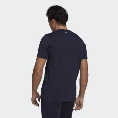 Men Tennis Blue Tennis Graphic Logo T-Shirt