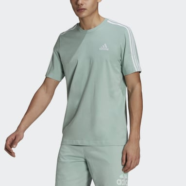 Men Sport Inspired Green Essentials 3-Stripes Tee