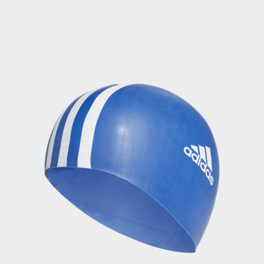 Swimming Blue 3-Stripes Swim Cap