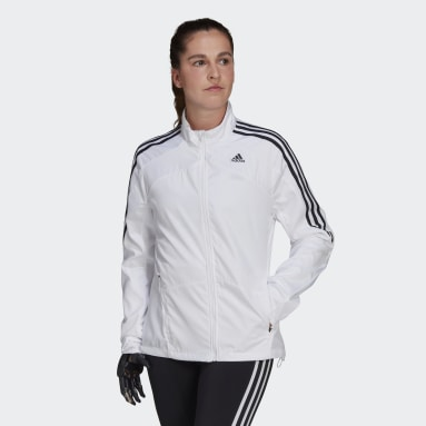Women Running White Marathon 3-Stripes Jacket