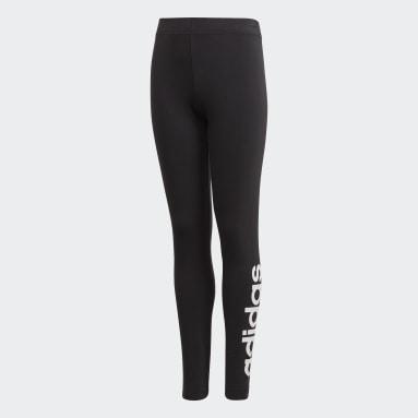 Mallas Essentials Linear - Corte Bajo Negro Niño Sportswear