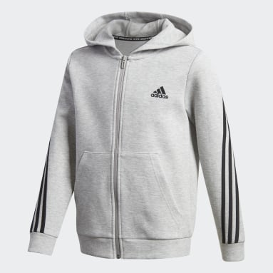 3-Stripes Doubleknit Full-Zip Hettegenser Grå
