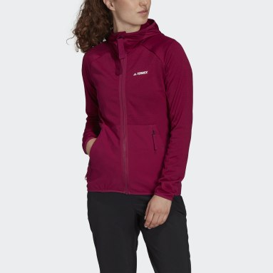 Chaqueta Terrex Tech Fleece Lite Hooded Hiking Burgundy Mujer TERREX