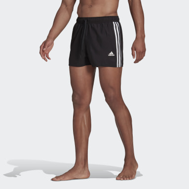 Men Swimming Black Classic 3-Stripes Swim Shorts
